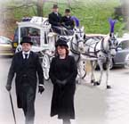 Horse drawn and mototcycle hearse